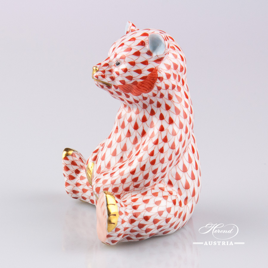 Bear 15361-0-00 VHR Red Fish scale decor. Herend Fine china animal figurine. Hand painted. Height 9.0 cm
