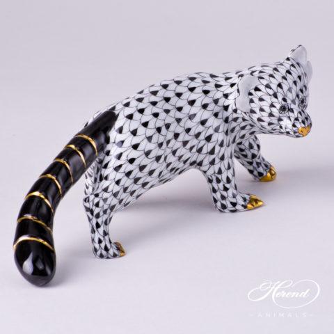 "Bear - Red Panda 15637-0-00 VHNM Black Fish scale decor. Herend fine china animal figurine. Hand painted. Length: 17.0 cm (6.75""L)"