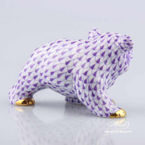 Bear Cub 15362-0-00 VHL Lilac fish scale decor. Herend Fine china animal figurine. Hand painted. Length 9.5 cm