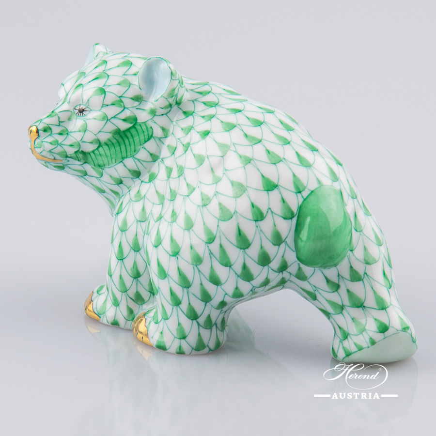 Bear Cub 15362-0-00 VHV Green fish scale decor. Herend Fine china animal figurine. Hand painted. Length 9.5 cm