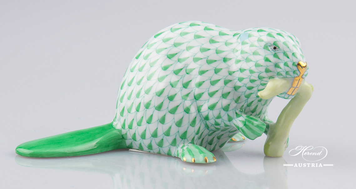 Beaver 15425-0-00 VHV Green - Herend Animal Figurine