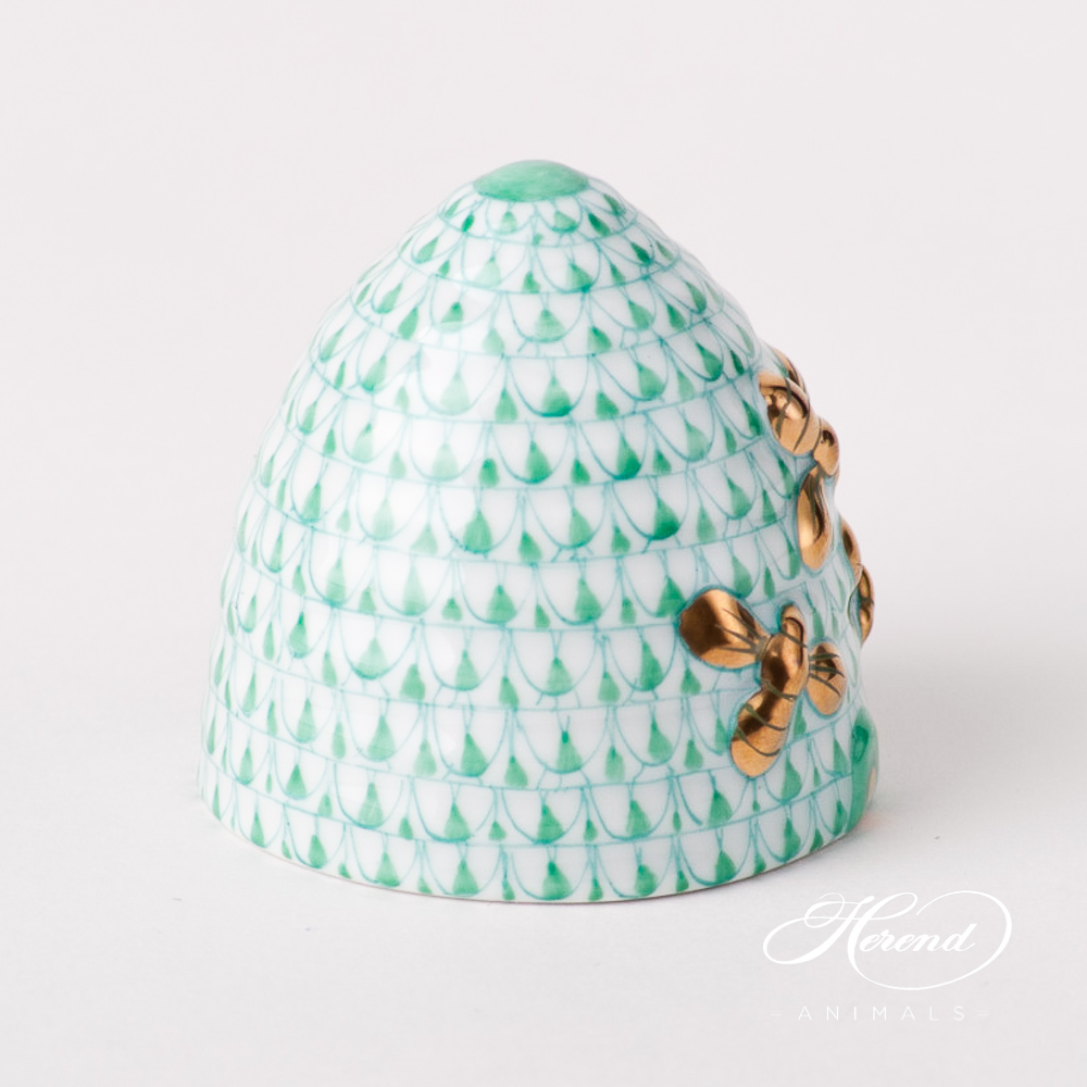 "Beehive w. Bees 5228-0-00 VHV Green Fish scale design. Herend fine china animal figurine. Handpainted. Height: 4.5 cm (1.75""H)."