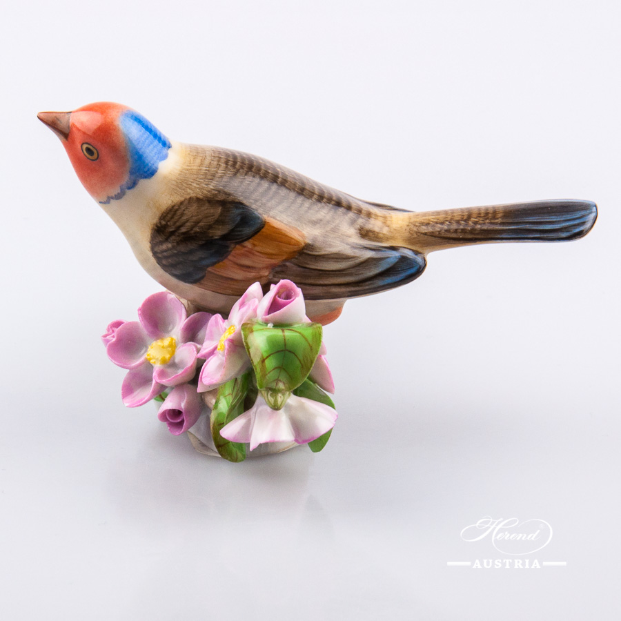 """Bird on Twig 5121-0-00 C Naturalistic decor. Herend fine china animal figurine. Hand painted. Length: 11.5 cm (4.5""""L)"""