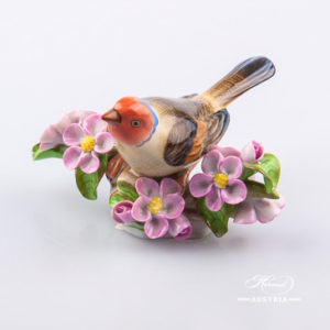 "Bird on Twig 5121-0-00 C Naturalistic decor. Herend fine china animal figurine. Hand painted. Length: 11.5 cm (4.5""L)"