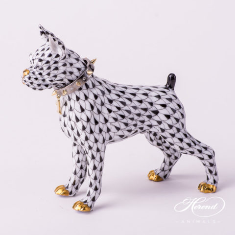 "Jewelled Boxer Dog 15565-0-00 VHNM Black Fish scale pattern decorated with Gold and Diamonds. Jewelled Boxer Dog with Gold Collar. Herend fine china animal figurine. Hand painted. Length: 11.8 cm (4.75""L)"