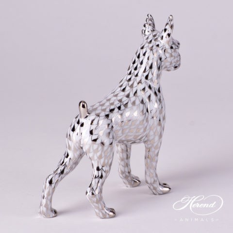 "Boxer Dog 15565-0-00 PTVH Platinum Fish scale decor. Herend fine china animal figurine. Hand painted. Length: 11.8 cm (4.75""L)"