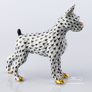 "Boxer Dog 15565-0-00 VHNM Black Fish Scale decor. Herend Fine china animal figurine. Hand painted. Length: 11.8 cm (4.75""L)"