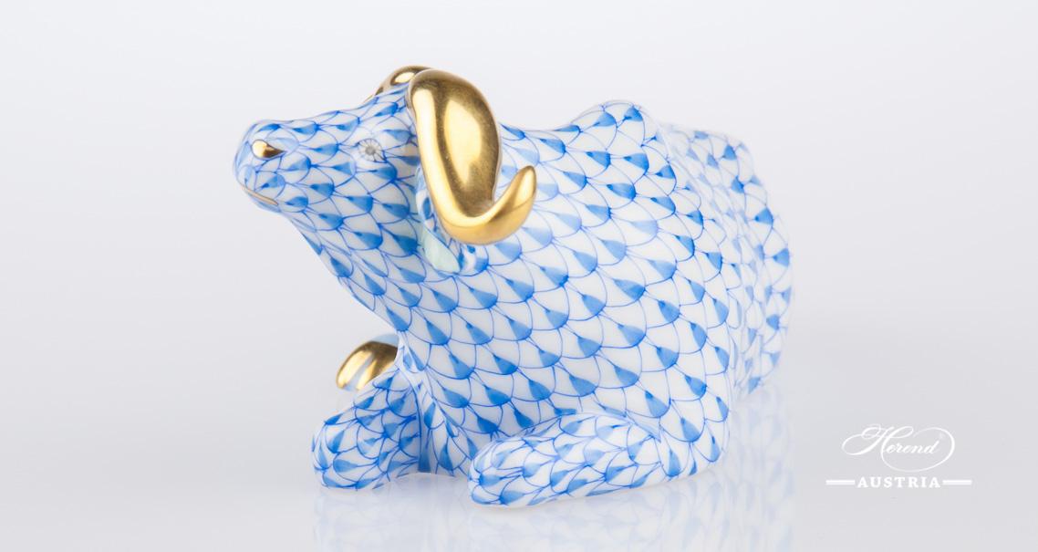 Buffalo lying 15612-0-00 VHB Blue - Herend Animal Figurine