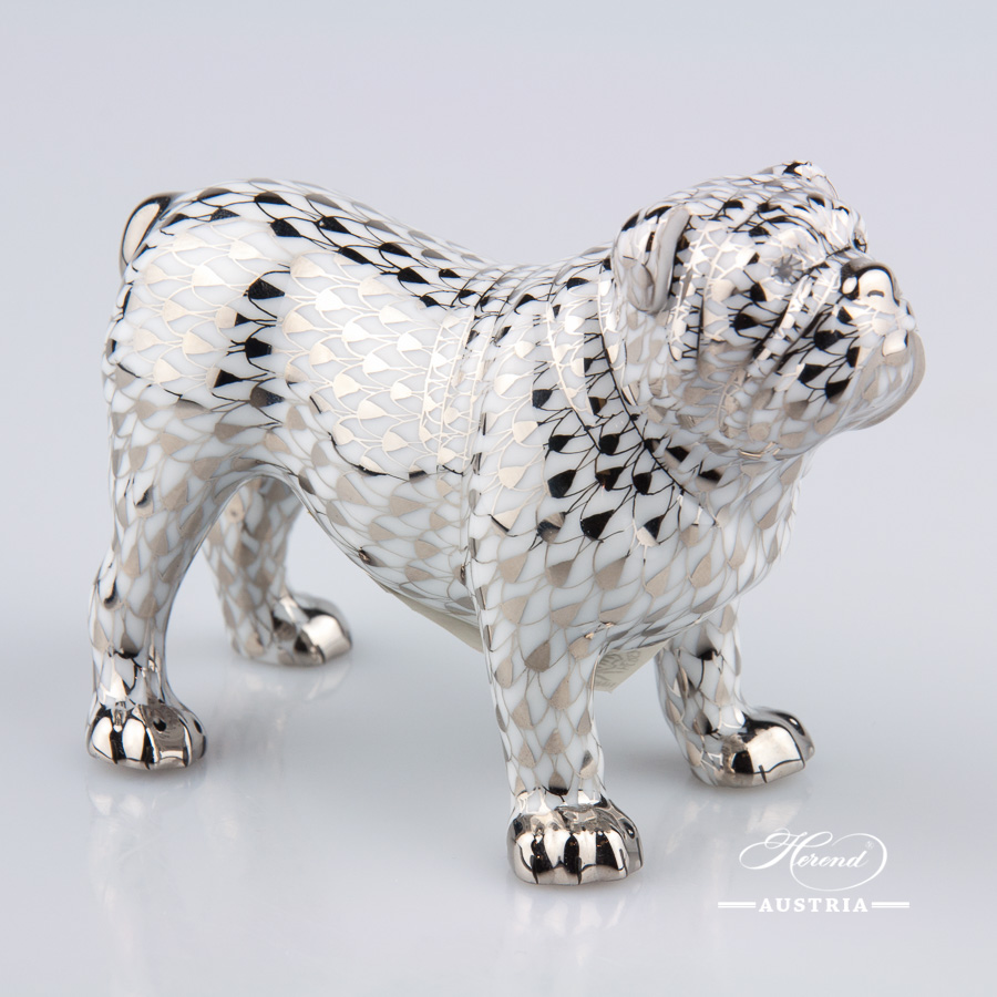 "Bulldog 15839-0-00 PTVH Platinum Fish Scale decor. Herend Fine china animal figurine. Hand painted. Length: 10.0 cm (4""L)"