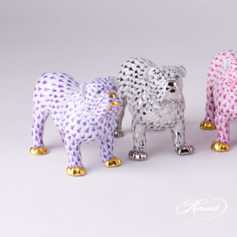 "Bulldog Animal Figurine 15839-0-00 is available in Lilac, Platinum and Purple decors. Herend Fine china animal figurine. Hand painted. Length 10.0 cm (4""L)"