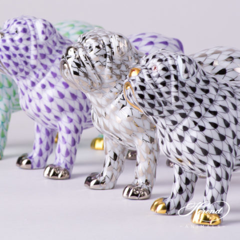 "Bulldog Animal Figurine 15839-0-00 is available in Light Green, Lilac, Platinum and Black decors. Herend Fine china animal figurine. Hand painted. Length 10.0 cm (4""L)"