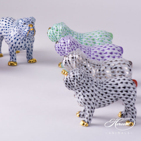 "Bulldog Animal Figurine 15839-0-00 is available in Navy Blue, Light Green, Lilac, Platinum and Black decors. Herend Fine china animal figurine. Hand painted. Length 10.0 cm (4""L)"