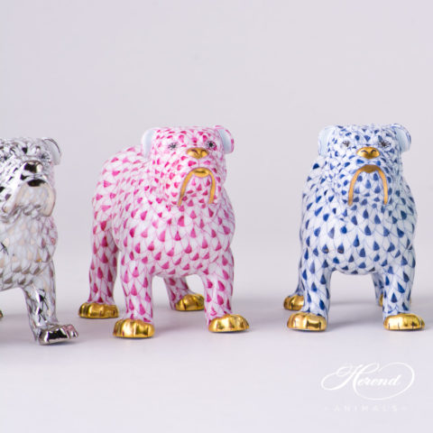 "Bulldog Animal Figurine 15839-0-00 is available in Platinum, Purple and Navy Blue decors. Herend Fine china animal figurine. Hand painted. Length 10.0 cm (4""L)"
