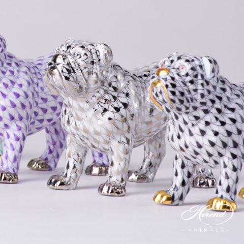 "Bulldog Animal Figurine 15839-0-00 is available in Lilac, Platinum and Black decors. Herend Fine china animal figurine. Hand painted. Length 10.0 cm (4""L)"