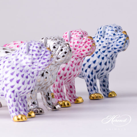 "Bulldog Animal Figurine 15839-0-00 is available in Lilac, Platinum, Purple and Navy Blue decors. Herend Fine china animal figurine. Hand painted. Length 10.0 cm (4""L)"