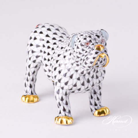 "Bulldog 15839-0-00 VHN Black Fish scale decor. Herend Fine china animal figurine. Hand painted. Length 10.0 cm (4""L)"