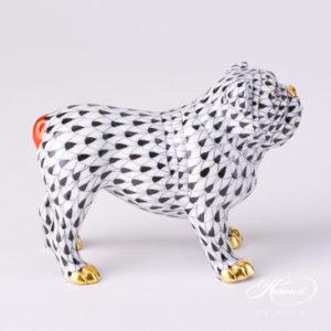 "Bulldog 15839-0-00 VHN Black Fish scale decor. Herend Fine china animal figurine. Hand painted. Length 10.0 cm (4""L)"