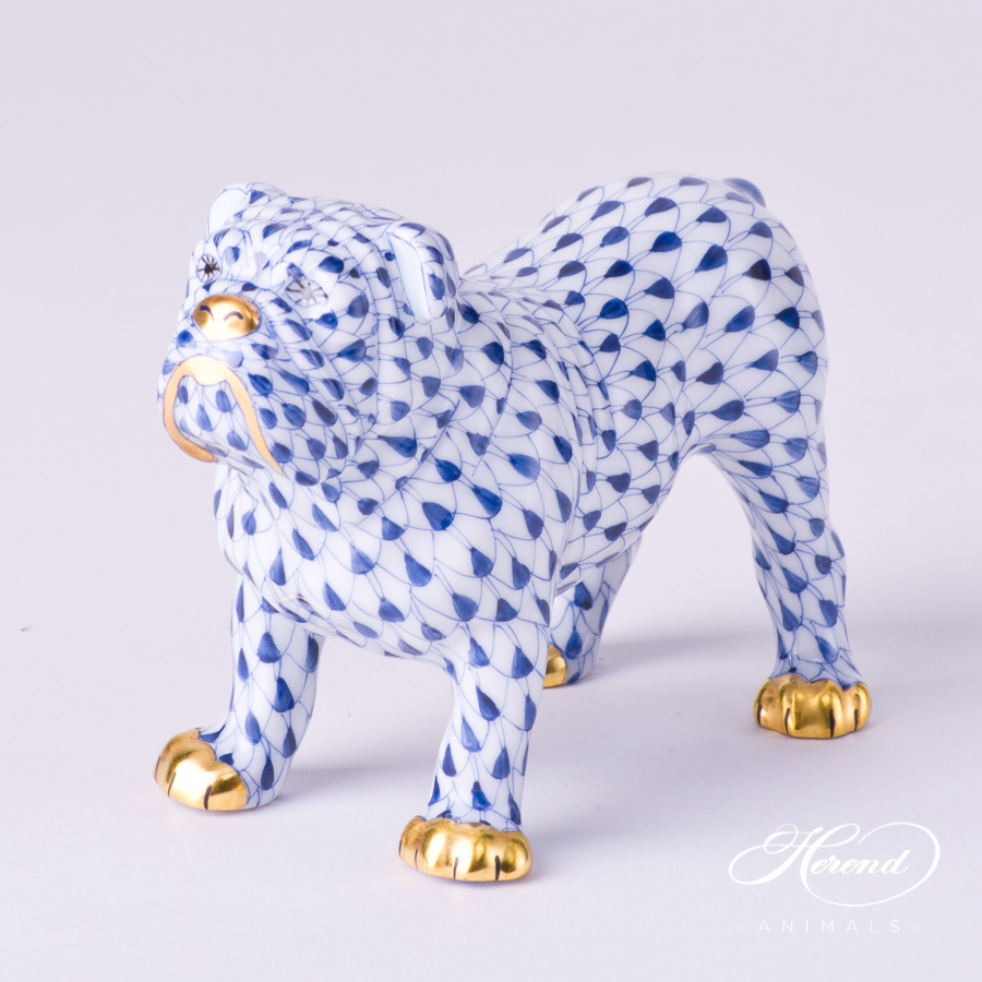 "Bulldog 15839-0-00 VHFB Navy Blue Fish scale decor. Herend Fine china animal figurine. Hand painted. Length 10.0 cm (4""L)"