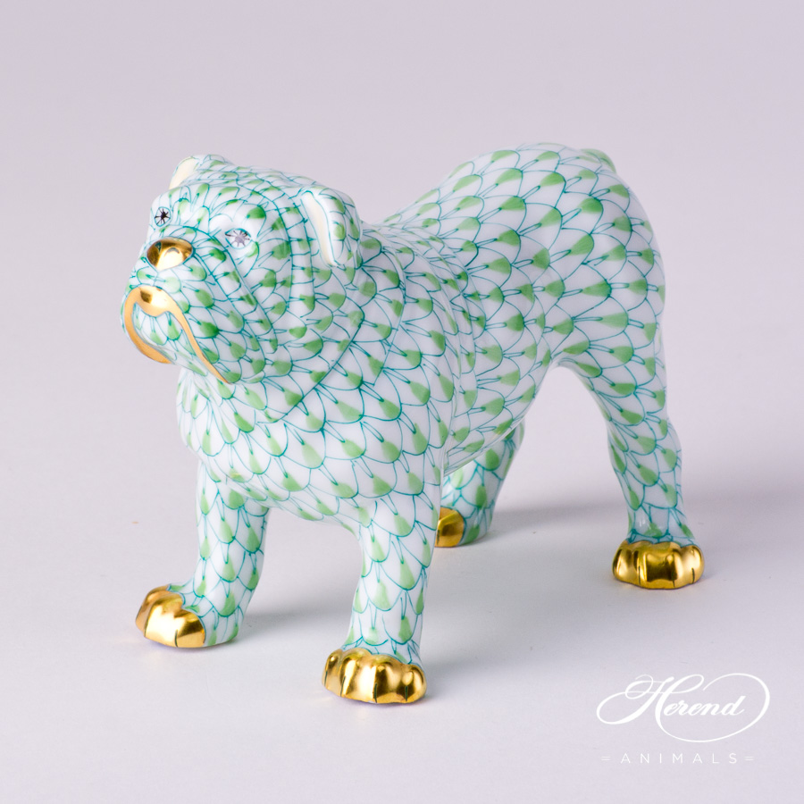 "Bulldog 15839-0-00 VHV2 Light Green Fish scale decor. Herend Fine china animal figurine. Hand painted. Length 10.0 cm (4""L)"