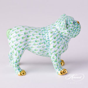 "Bulldog 15839-0-00 VHV2 Light Green Fish scale decor. Herend Fine china animal figurine. Hand painted. Length 10.0 cm (4""L)"