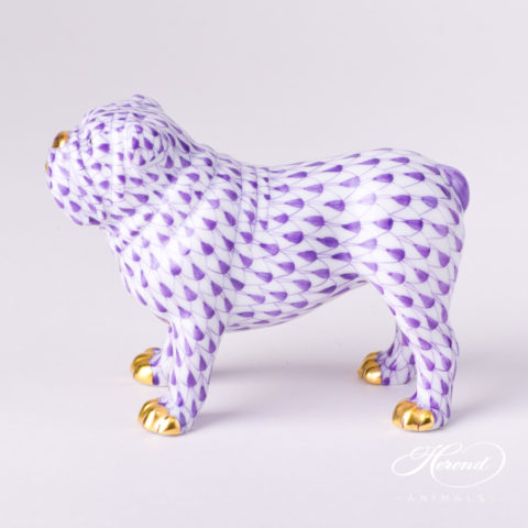 "Bulldog 15839-0-00 VHL Lilac Fish scale decor. Herend Fine china animal figurine. Hand painted. Length 10.0 cm (4""L)"