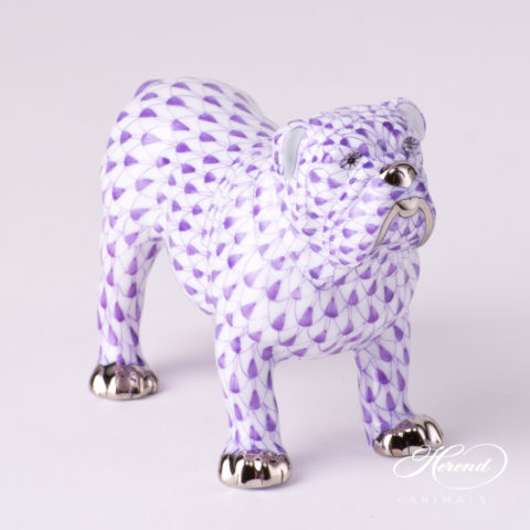 "Bulldog 15839-0-00 VHL-PT Lilac Fish scale with Platinum decor. Herend Fine china animal figurine. Hand painted. Length 10.0 cm (4""L)"