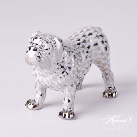 "Bulldog 15839-0-00 PTVH Platinum Fish scale decor. Herend Fine china animal figurine. Hand painted. Length 10.0 cm (4""L)"