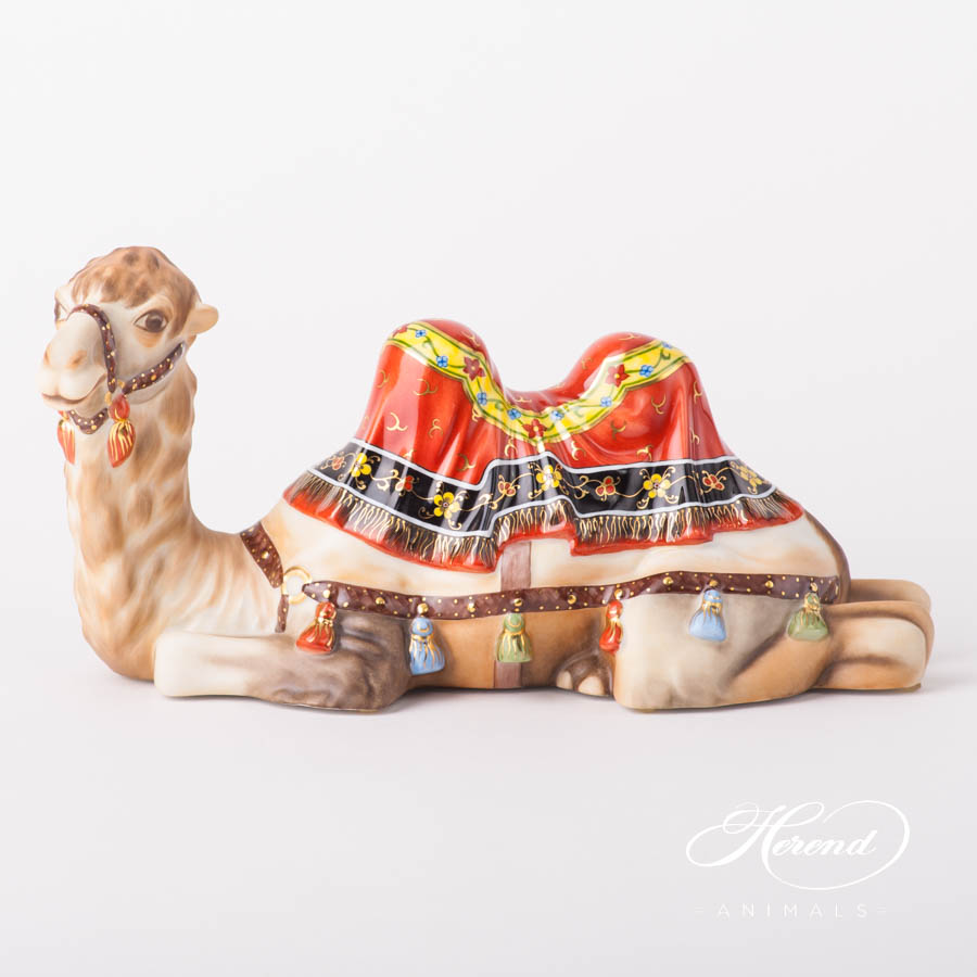 "Camel 15472-0-00 MCD Naturalistic decor. Herend fine china animal figurine. Hand painted. Length: 26.0 cm (10.25""L)"