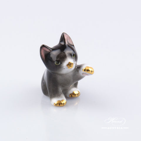 "Small Cat 15512-0-00 C Naturalistic decor. Herend Fine china animal figurine. Hand painted. Height: 4.0 cm (1.5""H)"