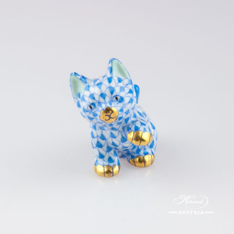 """Small Cat 15512-0-00 VHB Blue Fish Scale decor. Herend Fine china animal figurine. Hand painted. Height: 4.0 cm (1.5""""H)"""