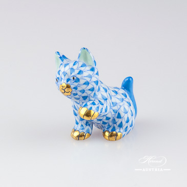 "Small Cat 15512-0-00 VHB Blue Fish Scale decor. Herend Fine china animal figurine. Hand painted. Height: 4.0 cm (1.5""H)"