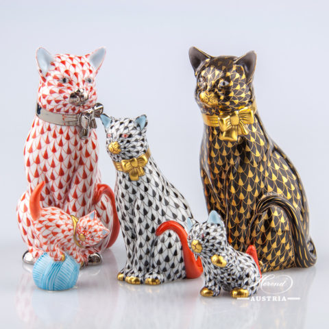 Group of Cats - Herend Animal Figurines. Herend Austria, Vienna - Trucking & Shipping