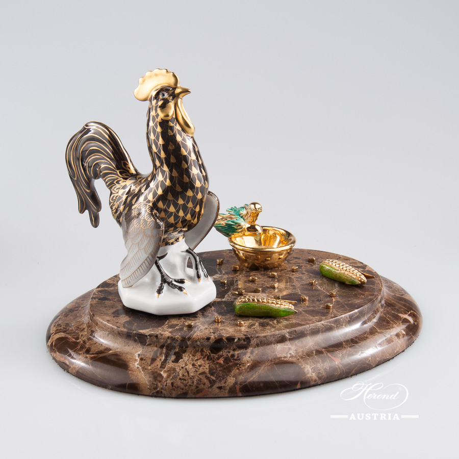 "Rooster Jewelled on Marble Base 15014-0-00 VHN-OR Gold Fish scale design on Black Background. Herend fine china animal figurine. Hand painted. Height 13 cm (5""H)."