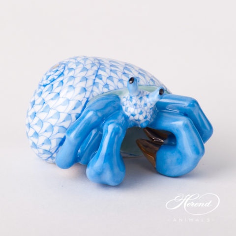 "Crab / Hermit Crab 15976-0-00 VHB Blue Fish scale design. Herend fine china animal figurine. Handpainted. Length: 6 cm (2.5""L)."