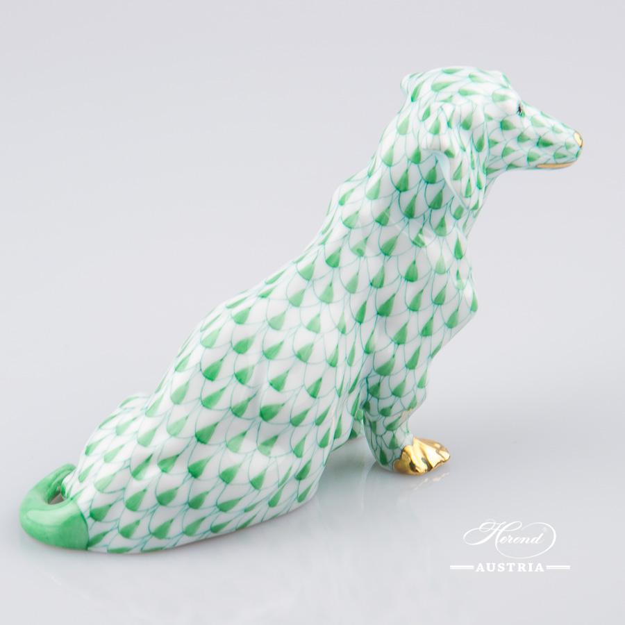 "Dog - Dachshund 15576-0-00 VHV Green Fish Scale decor. Herend porcelain animal figurine. Hand painted. Length: 13.2 cm (5.25""L)"