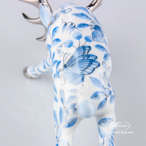 Deer / Stag 15592-0-00 ZOBA-PT Blue w. Platinum design. Herend fine china animal figurine.