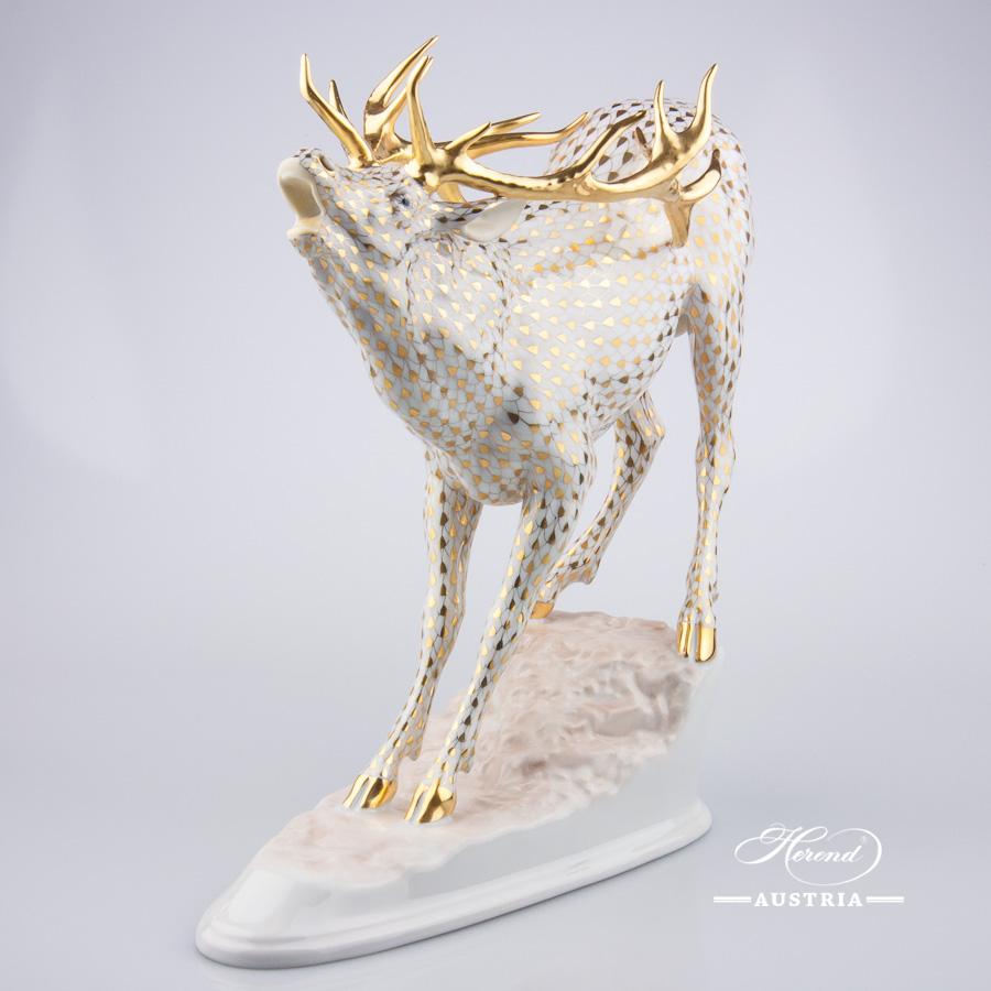 Deer big 15281-0-00-VHOR Gold - Herend Porcelain Animal Figurine. Worldwide Shipping - NEW in 2016