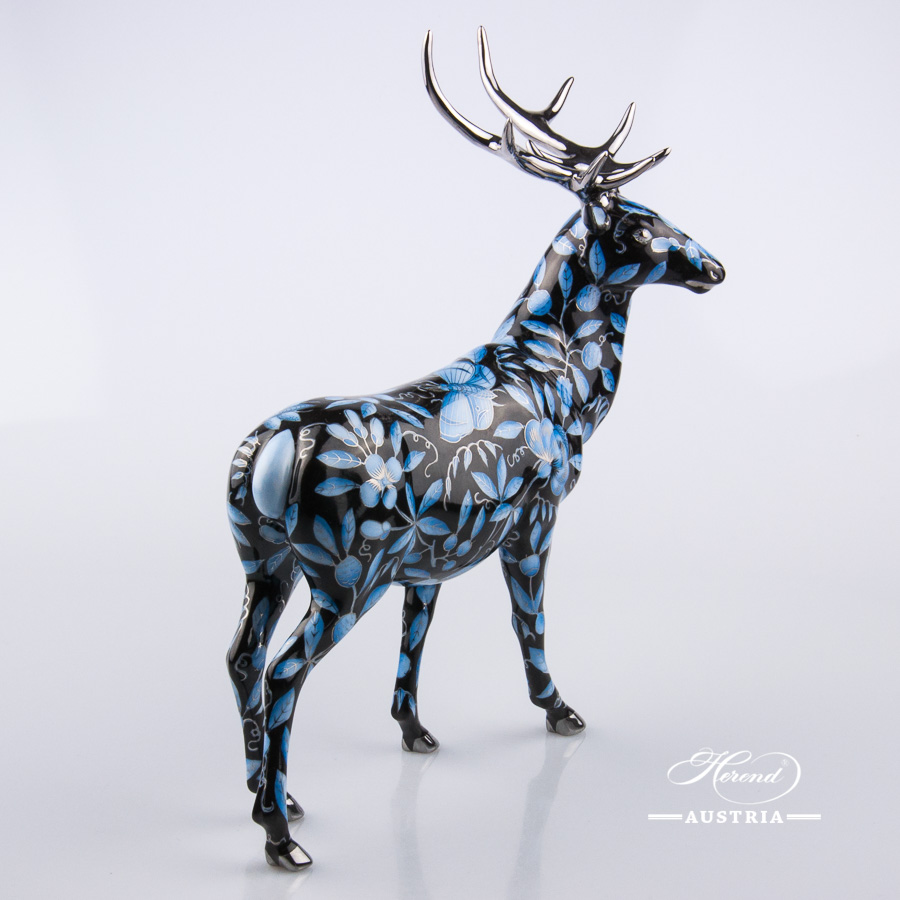 Deer 5245-0-00 ZOBA-FN-PT Black - Herend Animal Figurine. NEW in 2016