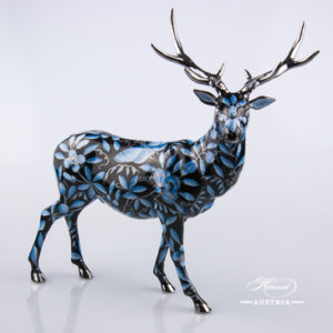 Deer 5245-0-00 ZOBA-FN-PT Black - Herend Animal Figurine. Worldwide Shipping - NEW in 2016