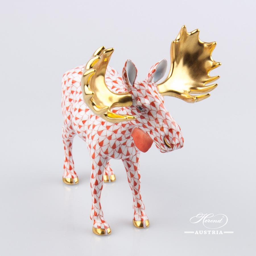 Deer Moose 15563-0-00 VHR Red - Herend Fine china Animal Figurine