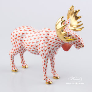 Deer Moose 15563-0-00 VHR Red - Herend Fine china Animal Figurine