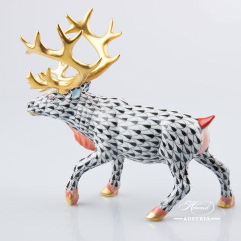Deer Reindeer 15659-0-00 VHN Black - Herend Fine china Animal Figurine
