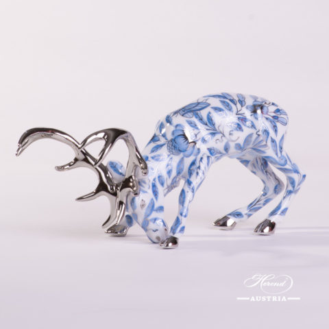 Deer / Stag 15593-0-00 ZOBA-PT Blue w. Platinum design. Herend fine china animal figurine.
