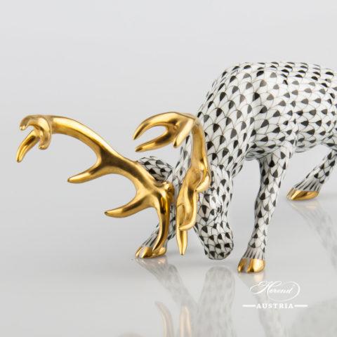Deer 15592-0-00 VHNM Black - Herend Fine china Animal Figurine