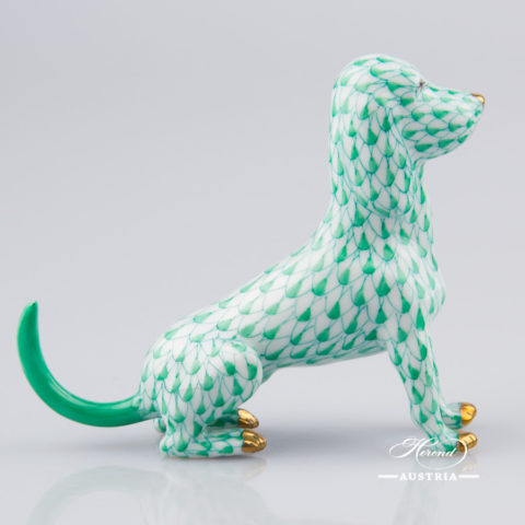 "Dog 15509-0-00 VHV Green Fish Scale decor. Herend Fine china animal figurine. Hand painted. Length: 10.0 cm (4""L)"