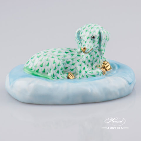 "Dog - Dachshund 15861-0-00 VHV Green Fish Scale decor. Herend porcelain animal figurine. Hand painted. Length: 15.0 cm (6""L)"