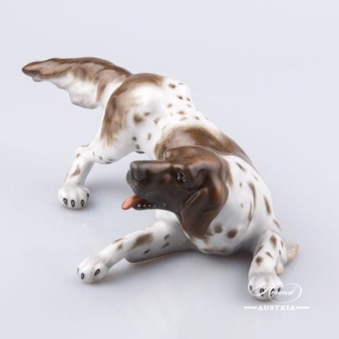 "Dog - German Vizsla 5386-0-00 MCD Naturalistic decor. Herend Fine china animal figurine. Hand painted. Length: 19.5 cm (7.75""L)"
