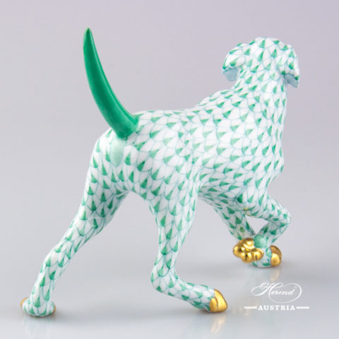 "Dog - Labrador 15684-0-00 VHV Green Fish Scale decor. Herend Fine china animal figurine. Hand painted. Length: 14.0 cm (5.5""L)"