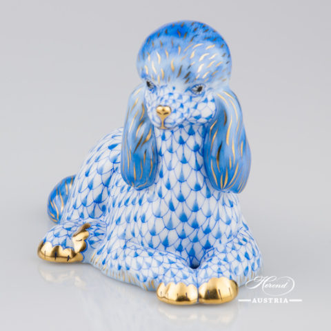 "Poodle Dog 15608-0-00 VHB Blue Fish Scale decor. Herend Fine china animal figurine. Hand painted. Height: 8.0 cm (3.25""H)"