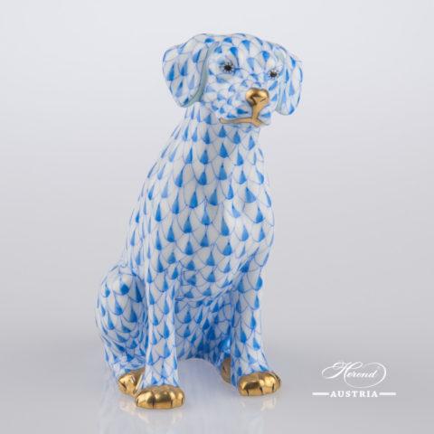 "Dalmatian Dog - Seated 15566-0-00 VHB Blue Fish Scale decor. Herend Fine china hand painted. Dalmatian dog animal figurine. Height: 10.0 cm (3.75""H)"